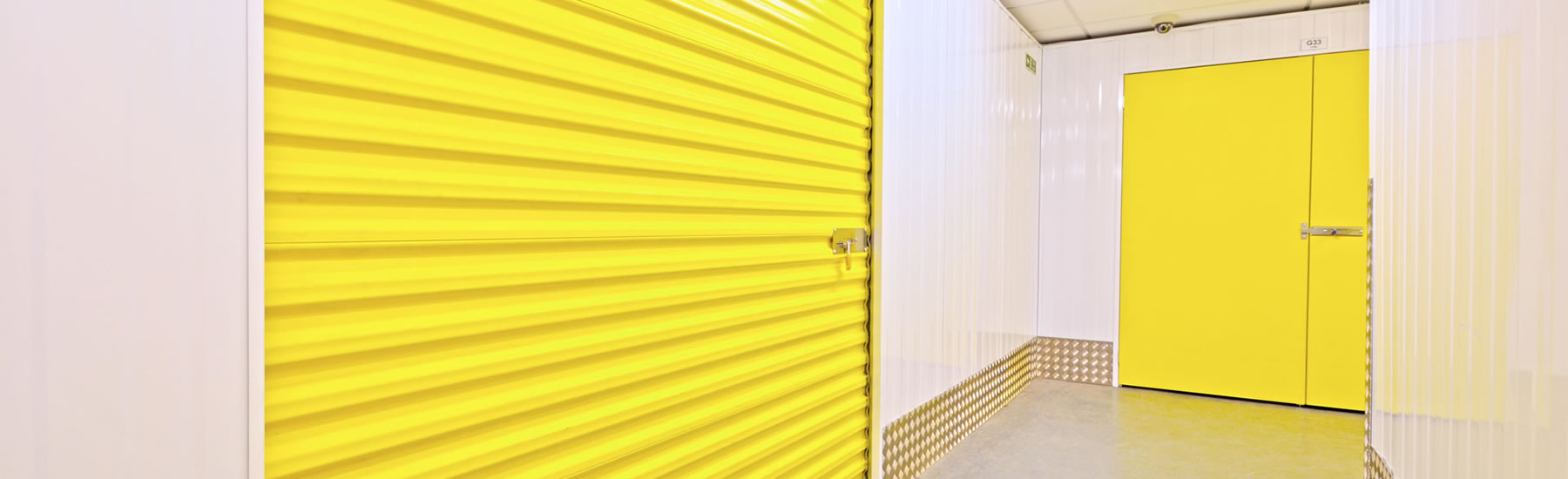 Interior of our storage facility in Wellingborough depicting shutter door